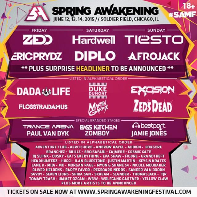 Spring Awakening Music Festival 2015 Spring Awakening 2015 Lineup
